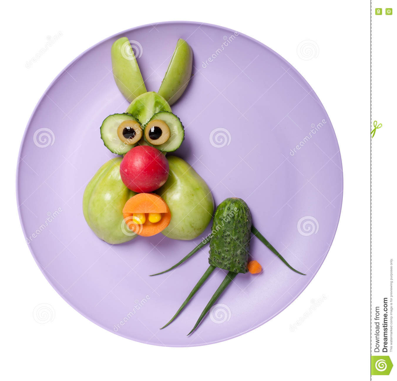 Funny rabbit made of green vegetables