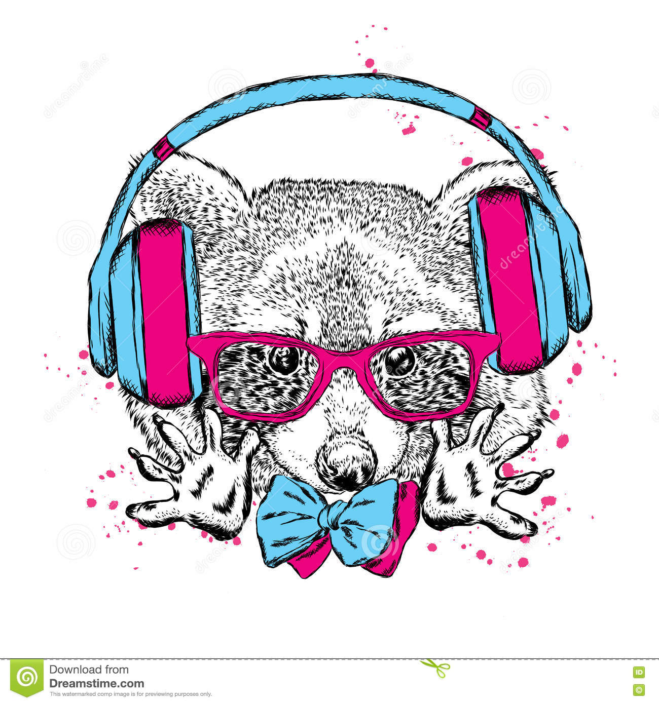 Funny Raccoon Wearing Headphones And Sunglasses. Vector