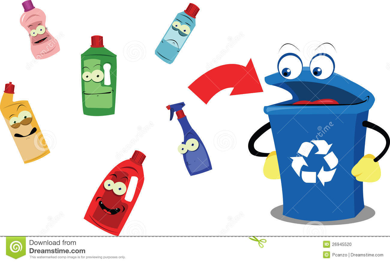 Plastic Bottle Recycling Funny Recycling Bins And Signs Royalty Free Stock Image Image