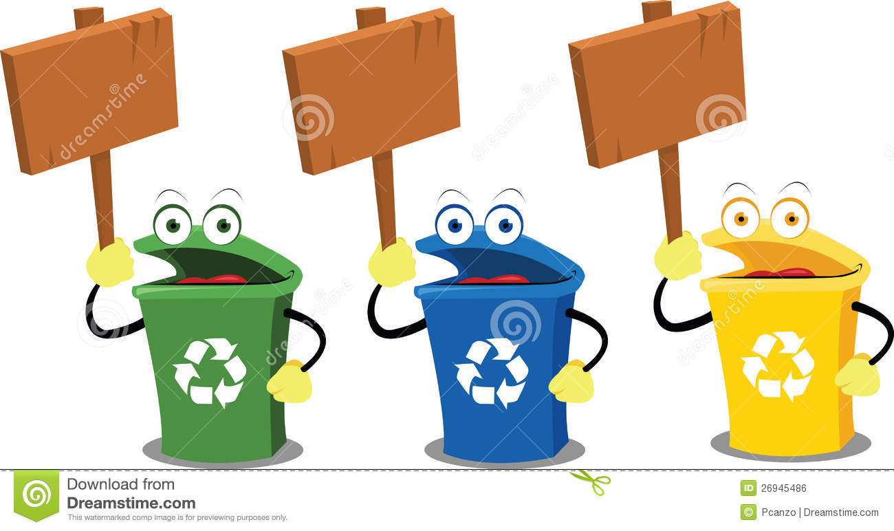 Recycling Funny Garbage Bins For Recycling Stock Illustration Image 45705597