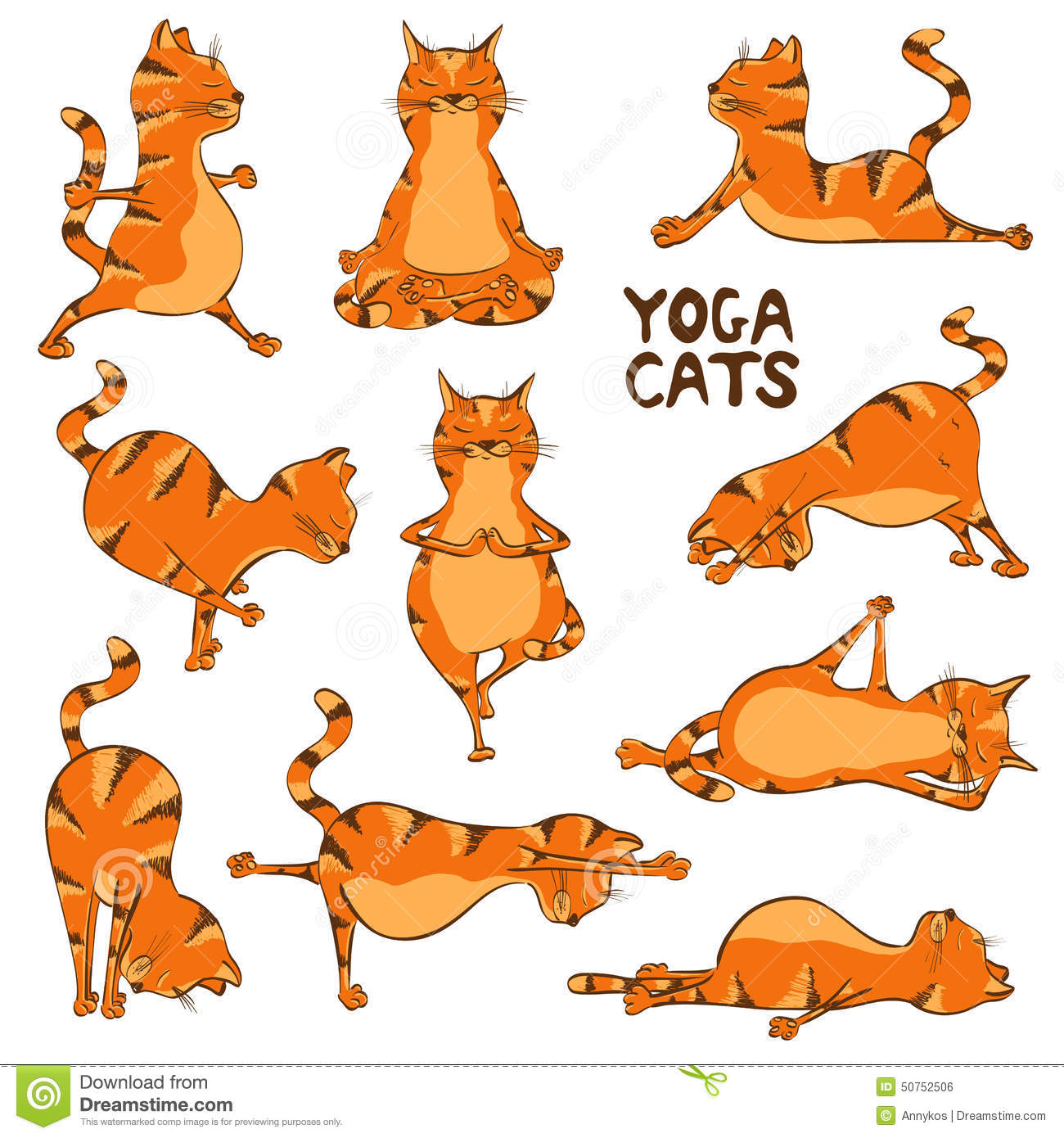 funny red cat doing yoga position stock vector   image
