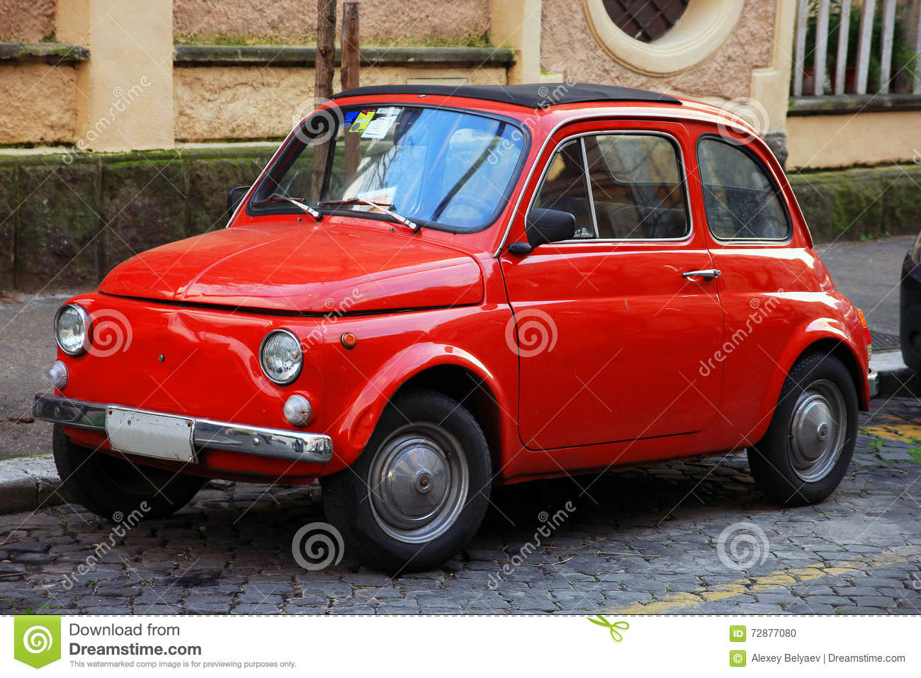 Funny Red Small Old Little Italian Car With Round Headlights And