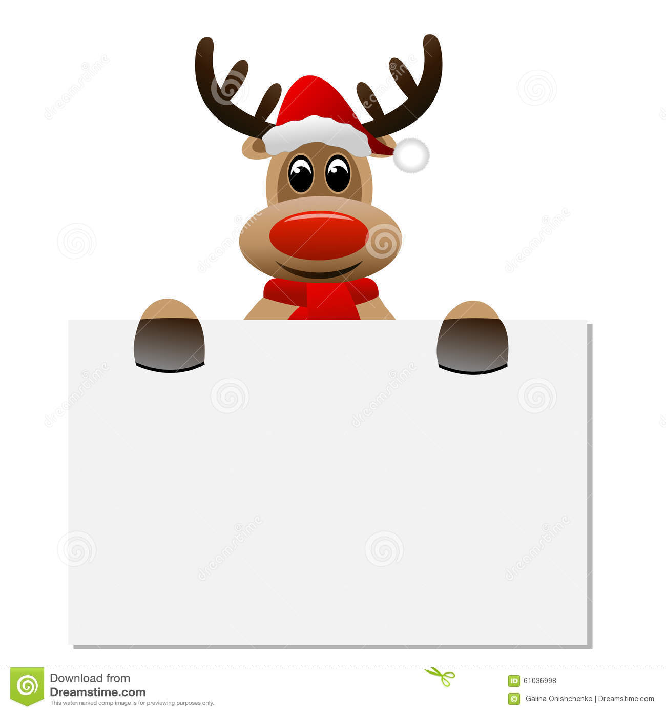 94666bac3f387 Funny Reindeer Christmas Hat Holding A Blank Banner Stock Vector ...