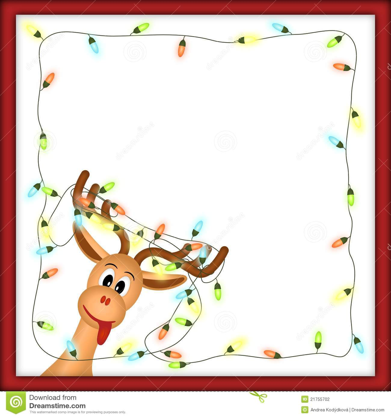 Funny Reindeer With Christmas Lights In Red Frame Stock