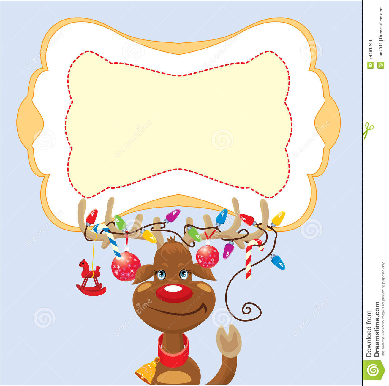 funny reindeer with christmas lights tangled in an stock images image 34161244. Black Bedroom Furniture Sets. Home Design Ideas