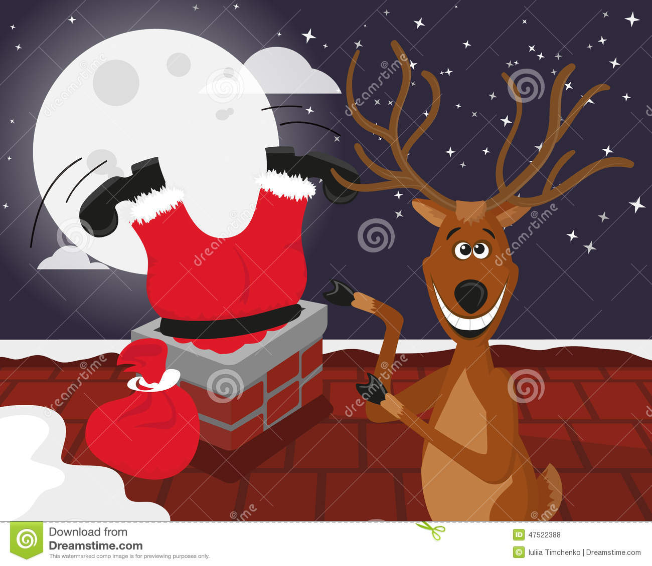 Funny Reindeer With Santa On The Roof Stock Vector Image