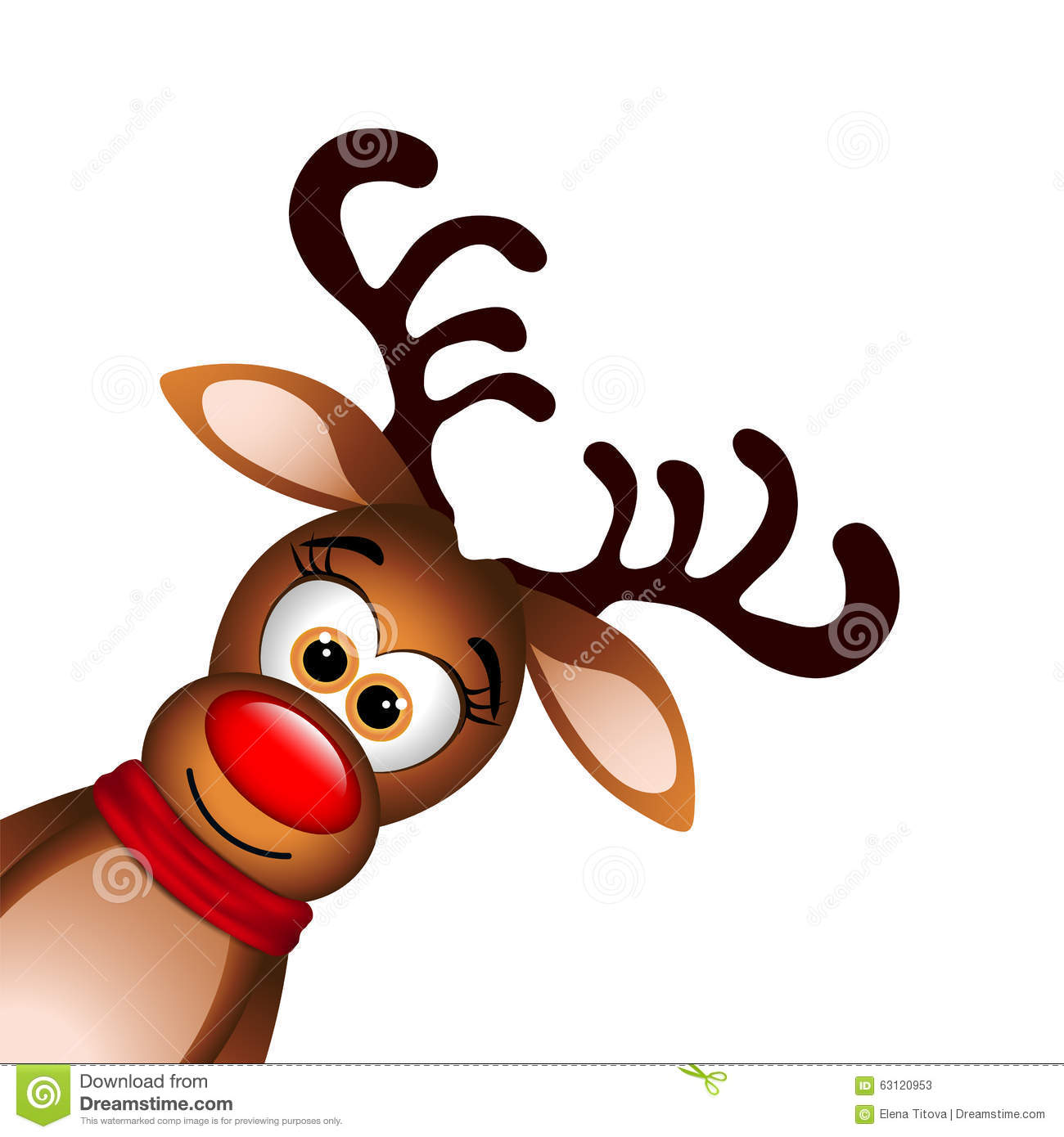 funny reindeer on white background stock vector
