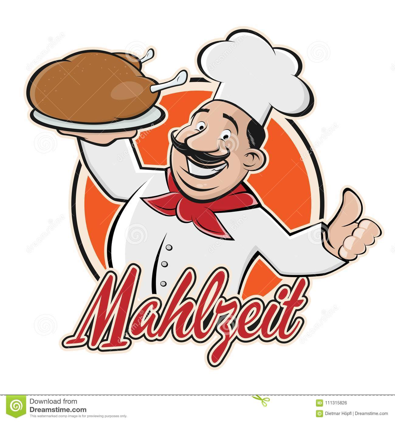 funny restaurant chef with german word meaning enjoy your meal stock