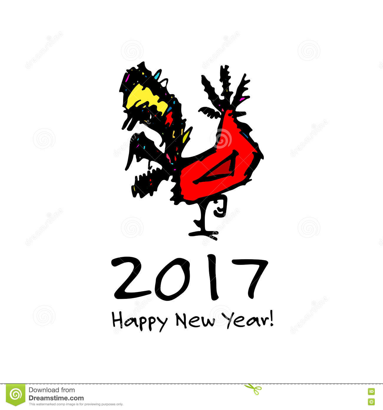 Funny Rooster Symbol Of 2017 New Year Stock Vector Illustration