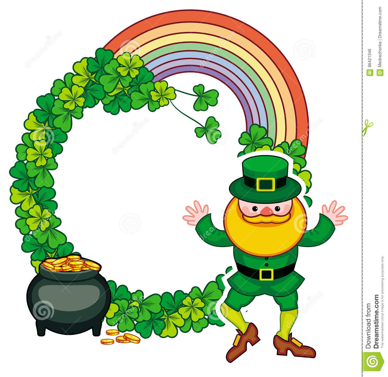funny round frame with shamrock and leprechaun raster clip art rh dreamstime com  free leprechaun clipart black and white