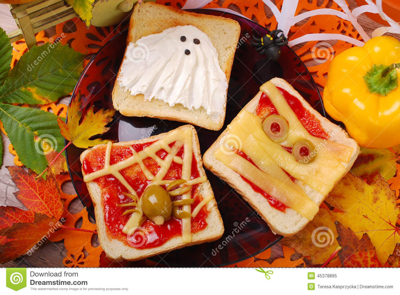 Funny Sandwiches For Halloween Stock Photo Image 45378895