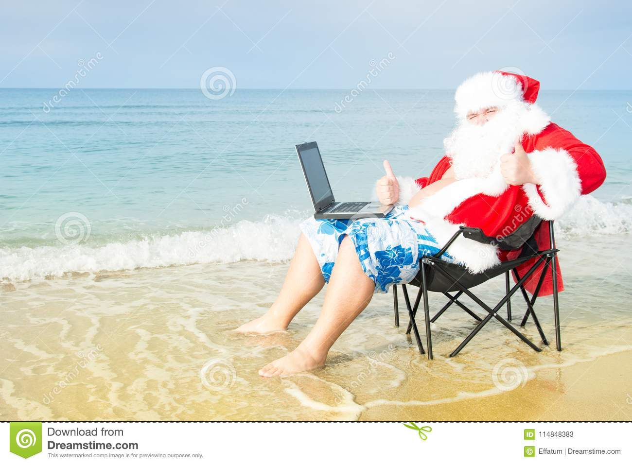 Funny Santa On The Beach Working On Laptop Stock Image Image Of Sunlounger Claus 114848383