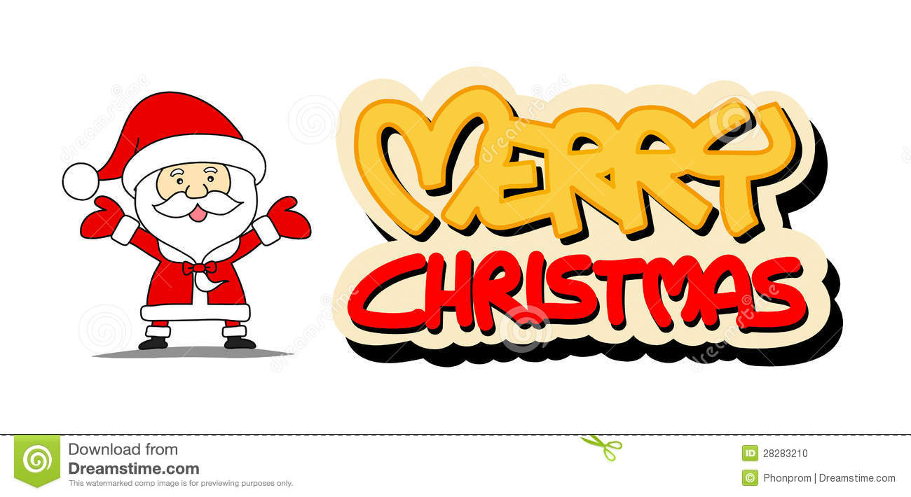 Funny Santa Claus And Merry Christmas Word Stock