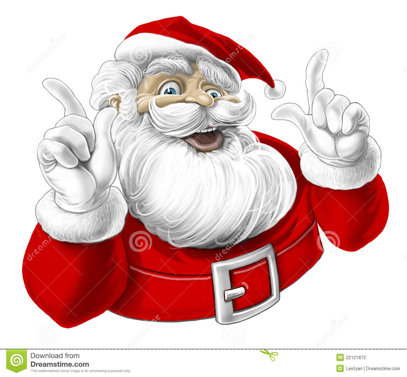 Illustration of funny Santa Claus on white background (Hand drawn).