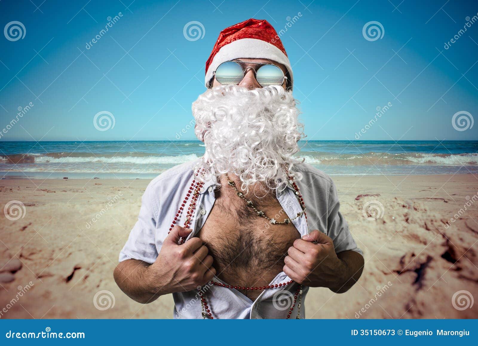 Funny Santa Claus Super Hero Beach Summer Christmas Stock Photos ...