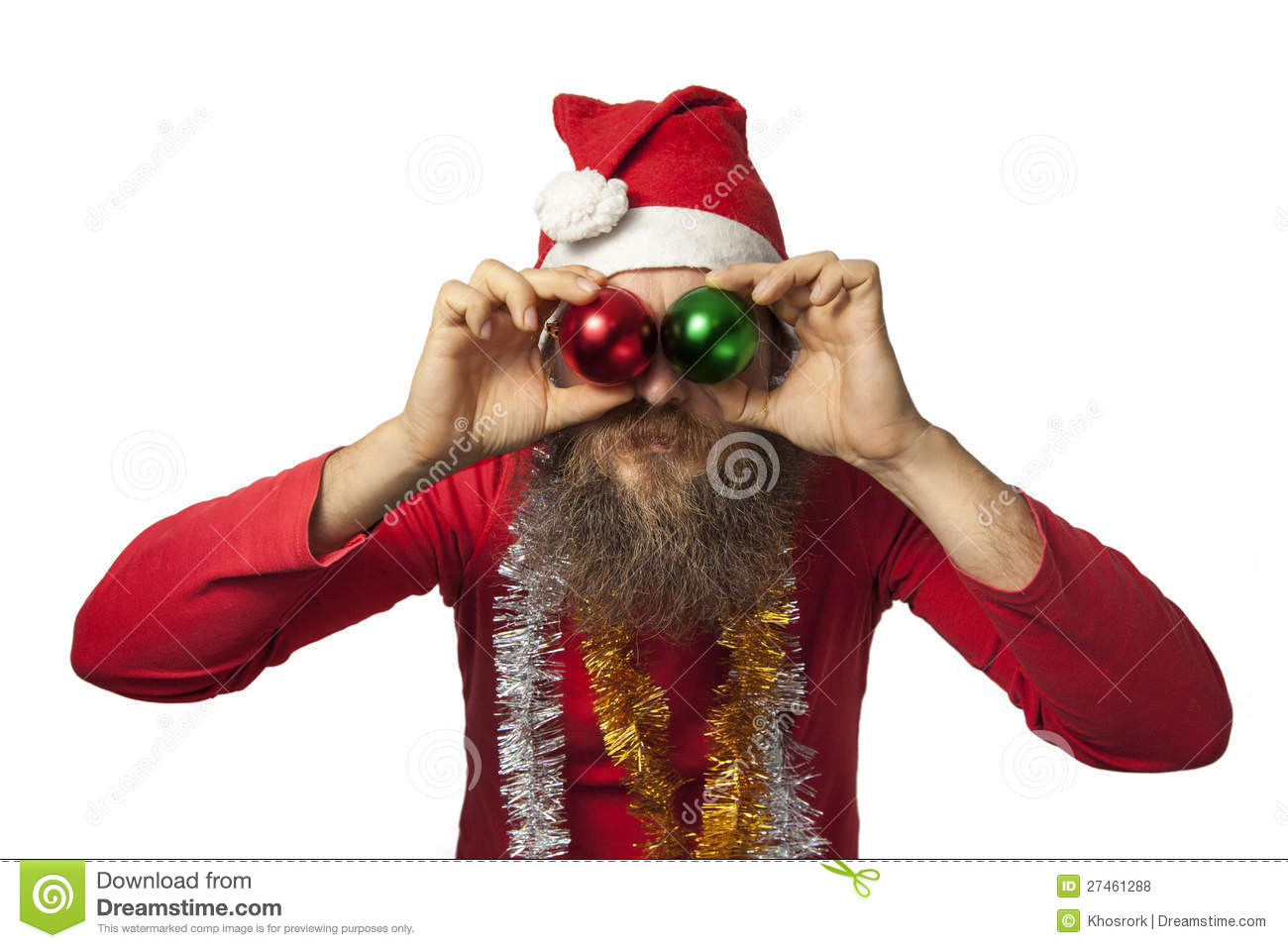 Funny santa clause with christmas balls stock photo