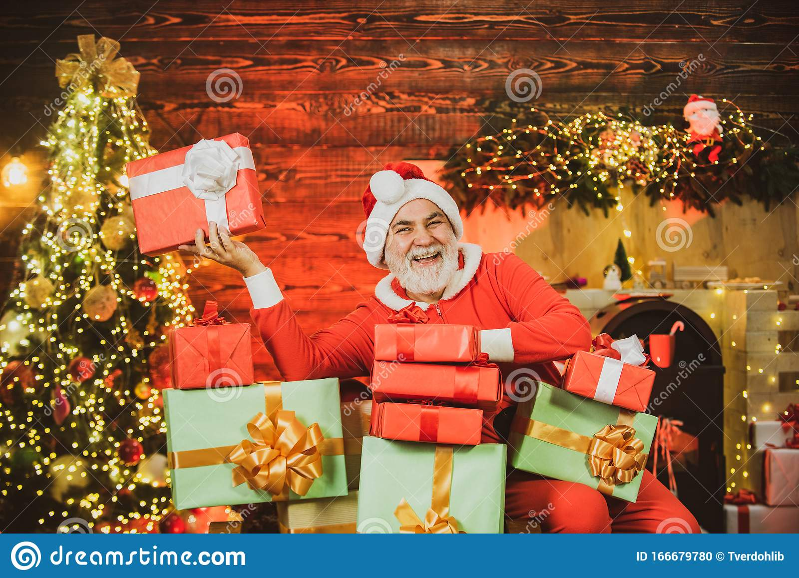 Funny Santa Hold Christmas Gift Santa Wishes Merry Christmas Stock Photo Image Of Christmas Merry 166679780