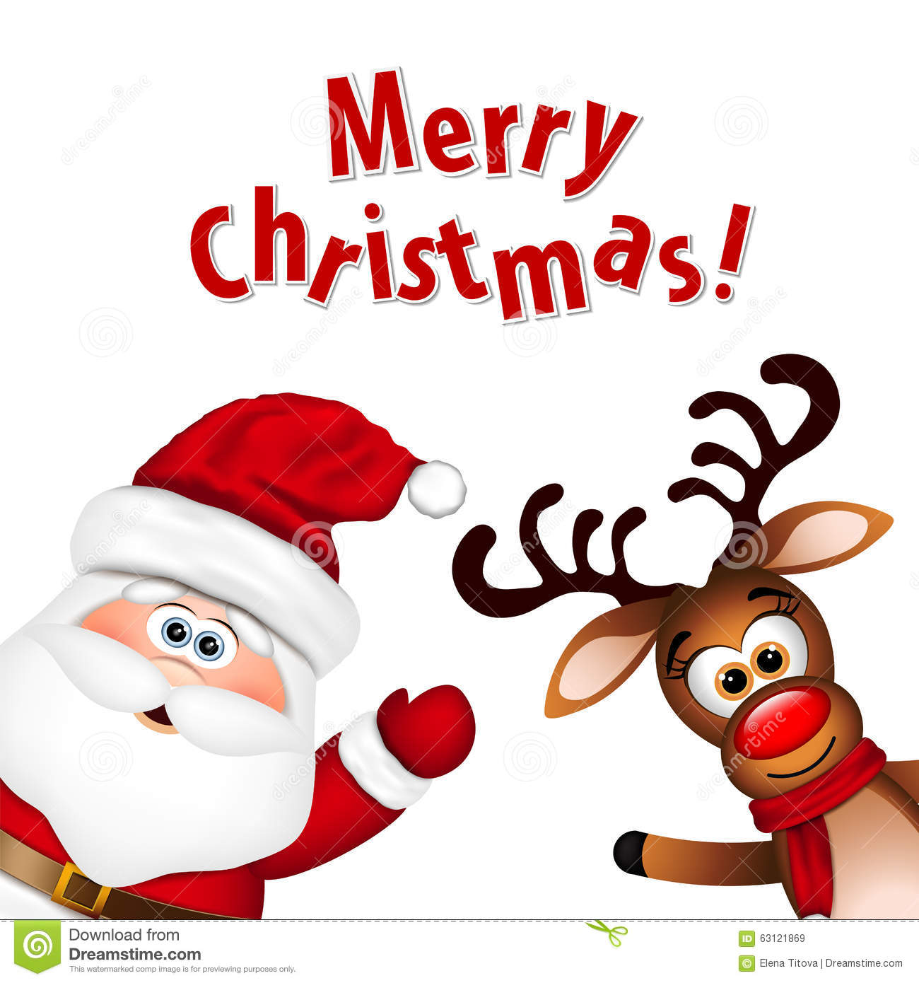 Funny Santa And Reindeer Stock Vector - Image: 63121869
