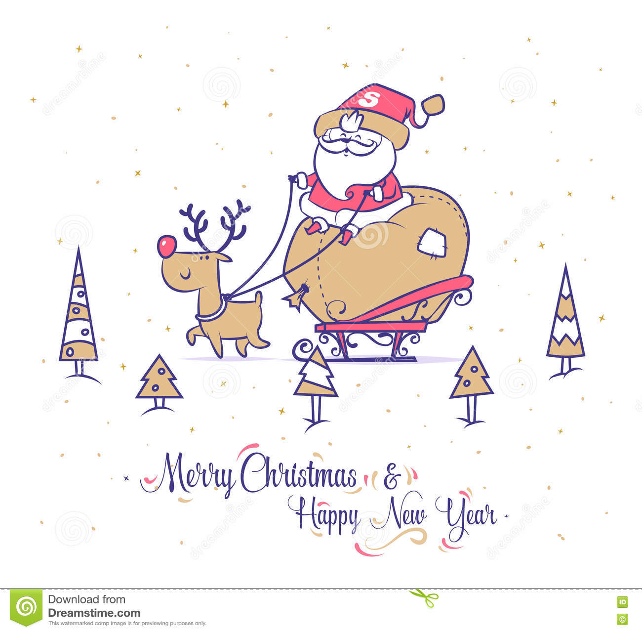 santa carries gifts to children on a sleigh with reindeer christmas greeting card background poster vector illustration merry christmas and happy new - Funny Merry Christmas Greetings