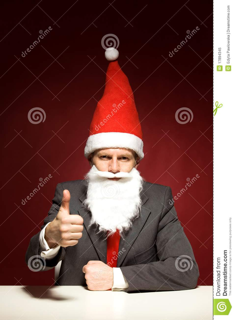 Funny Santa Showing Thumbs Up Royalty Free Stock Photo