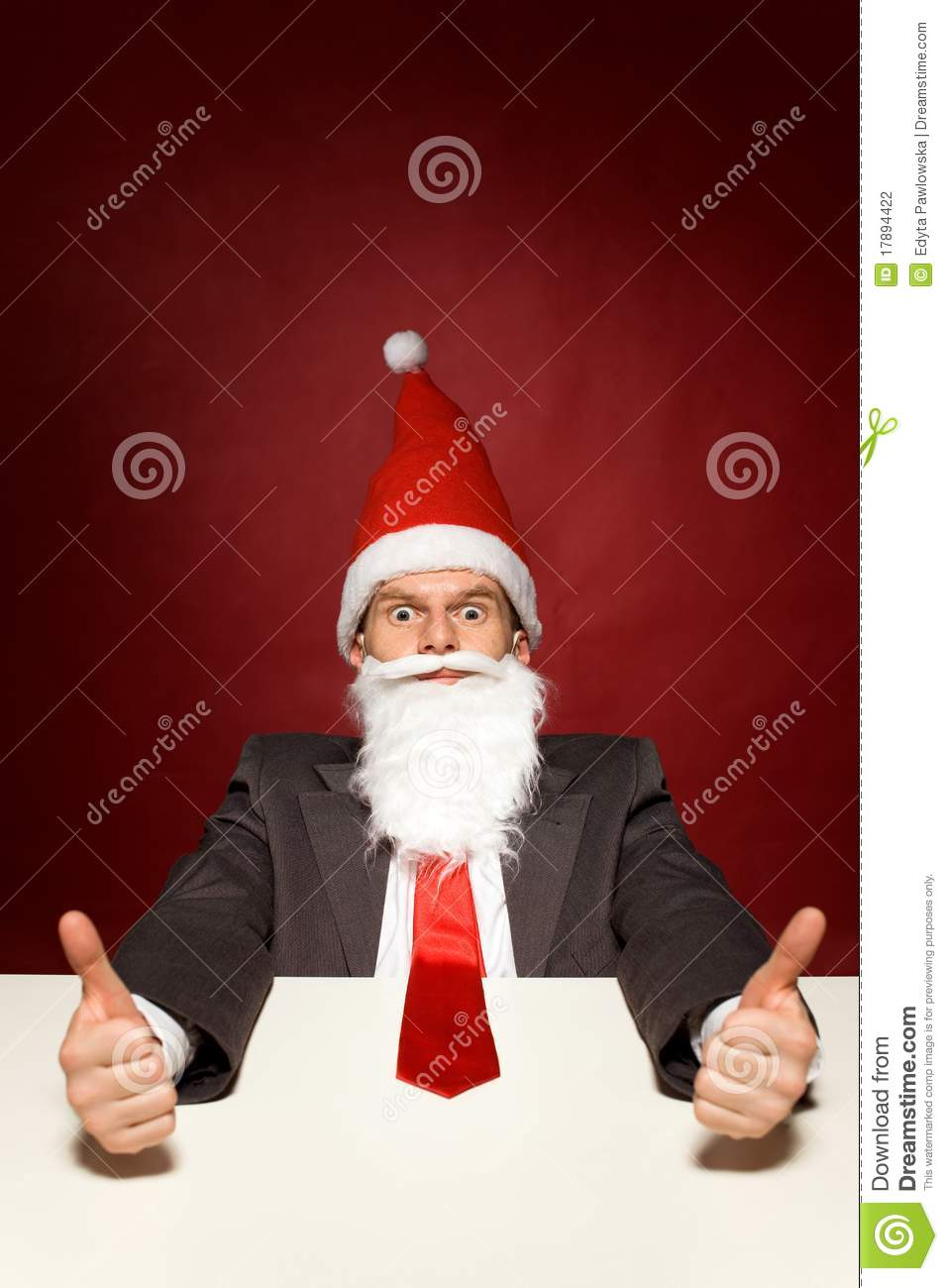 Funny Santa Showing Thumbs Up Stock Photography Image