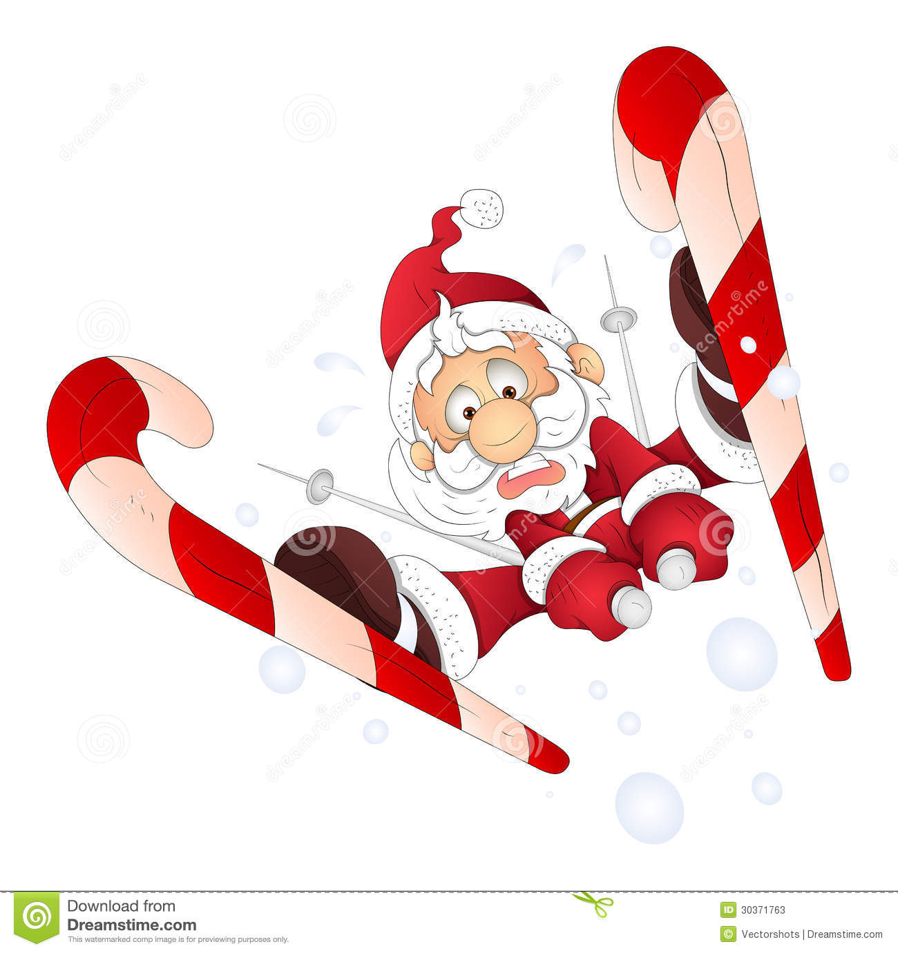 Funny Santa Skiing Christmas Vector Illustration Stock
