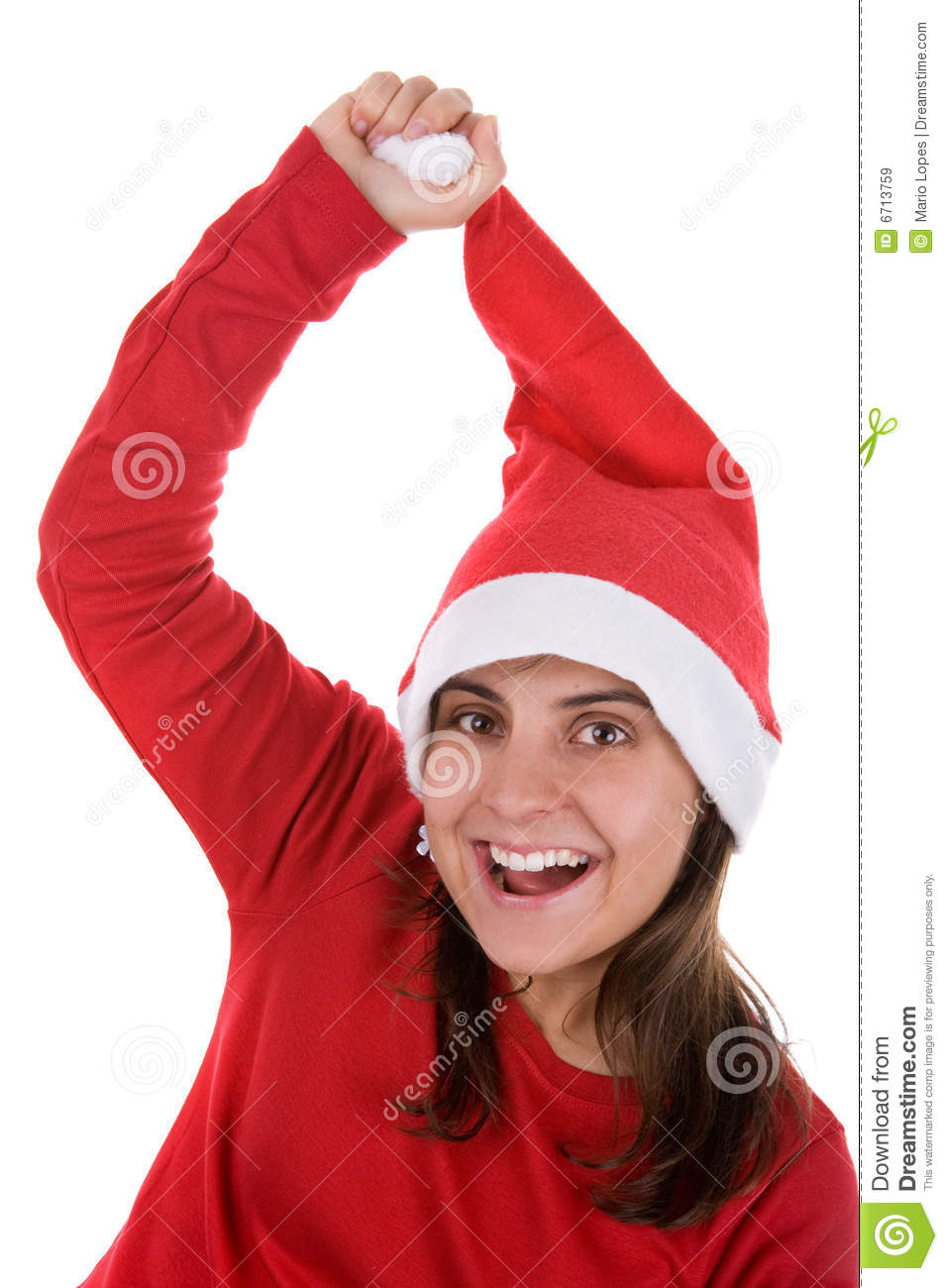 Funny santa woman pulling her red hat royalty free stock
