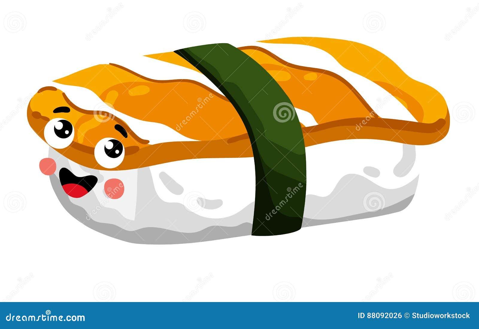 Funny sashimi sushi isolated cartoon character
