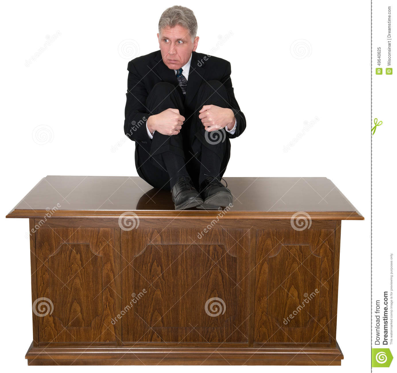 Funny Scared Businessman Office Desk Stock Image - Image: 49640625