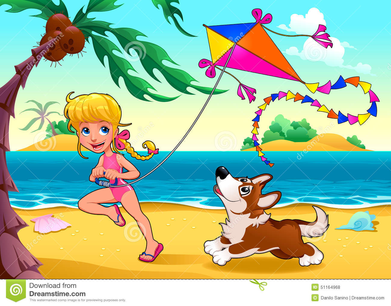 funny scene with girl and dog on the beach stock vector   image