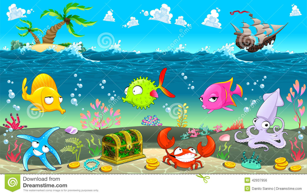 Wall Stickers For Babies Funny Scene Under The Sea Stock Vector Image 42937956