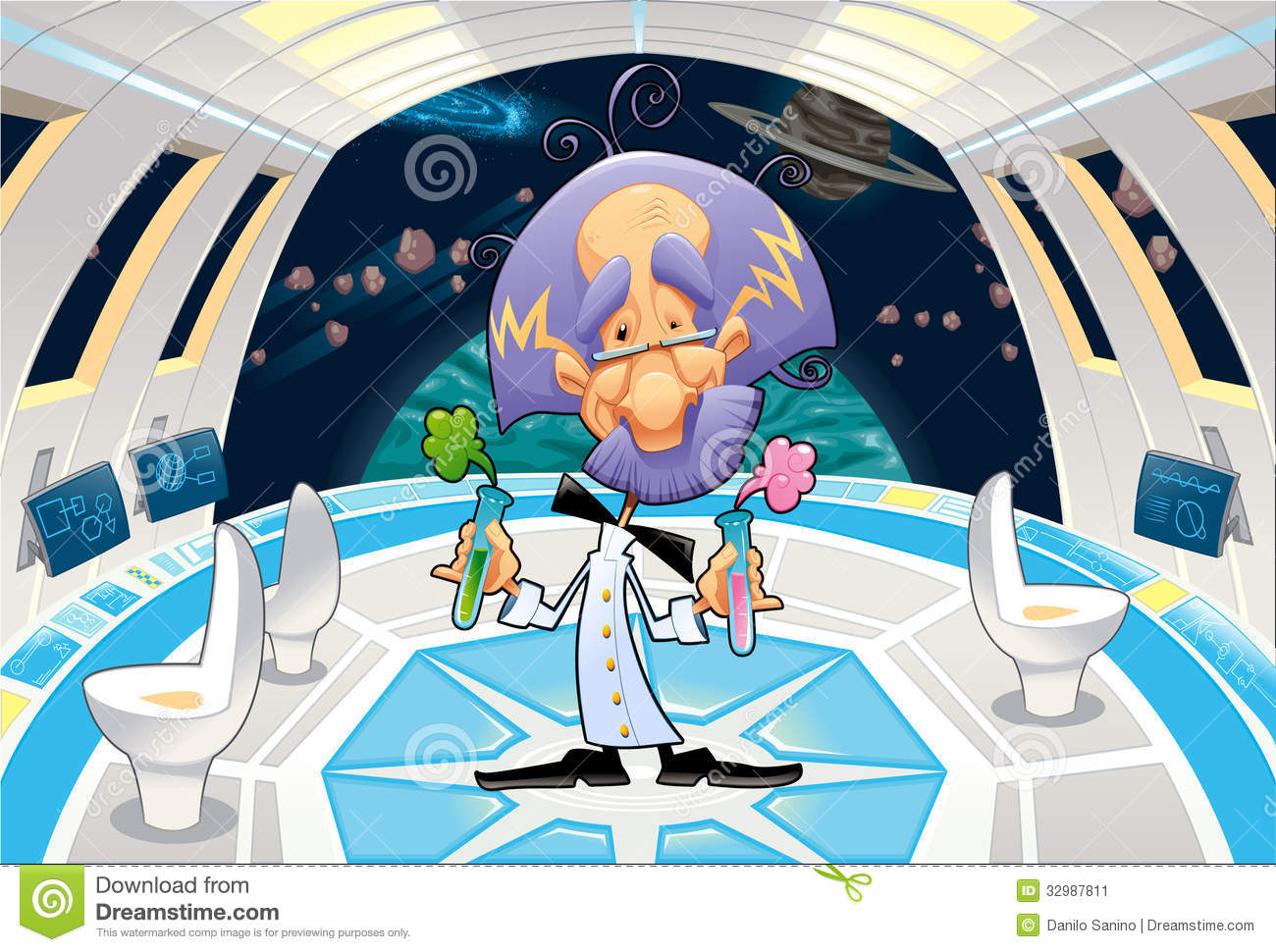 Funny Scientist In A Spaceship. Stock Vector