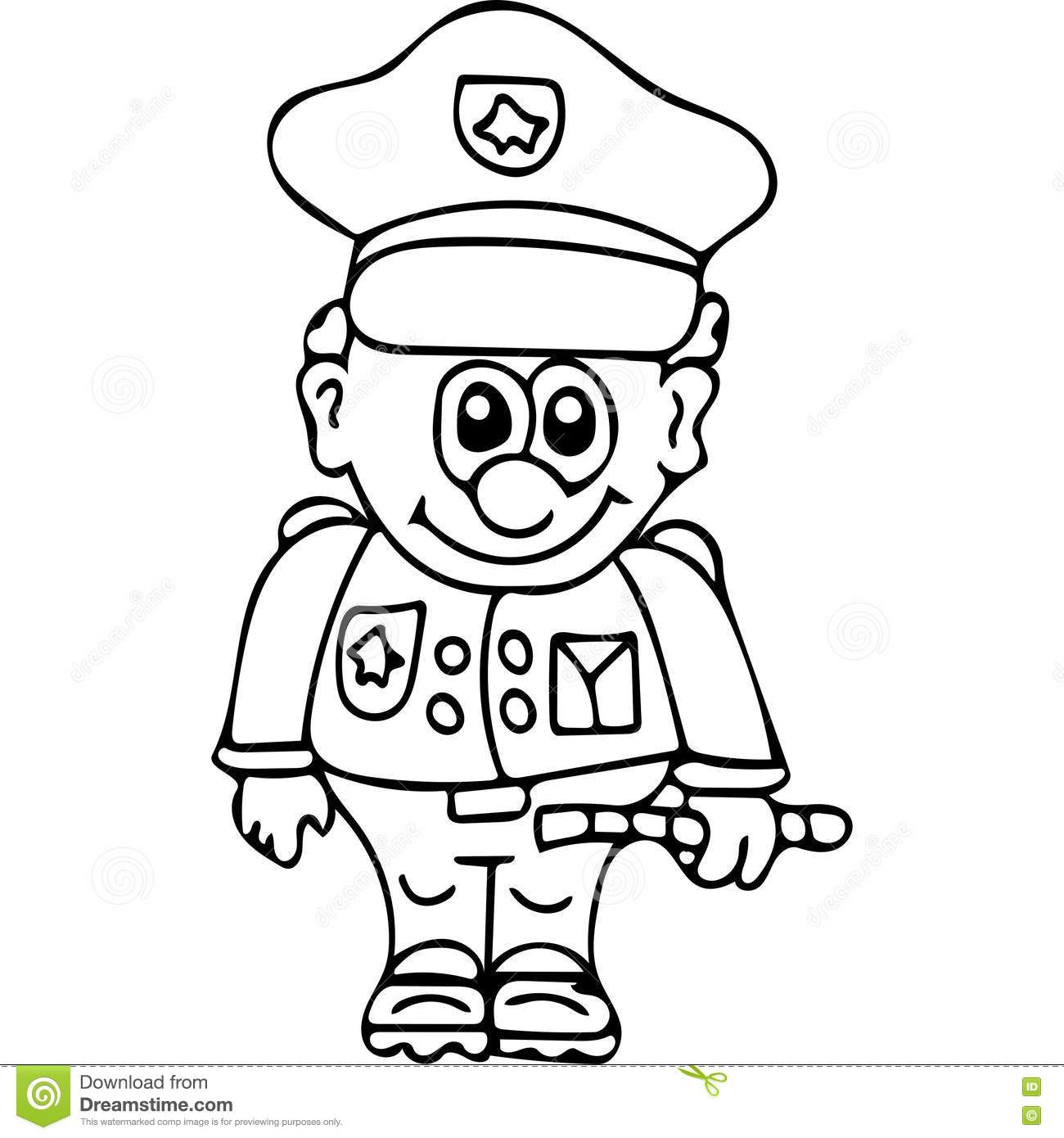 funny secutity police coloring pages stock illustration image