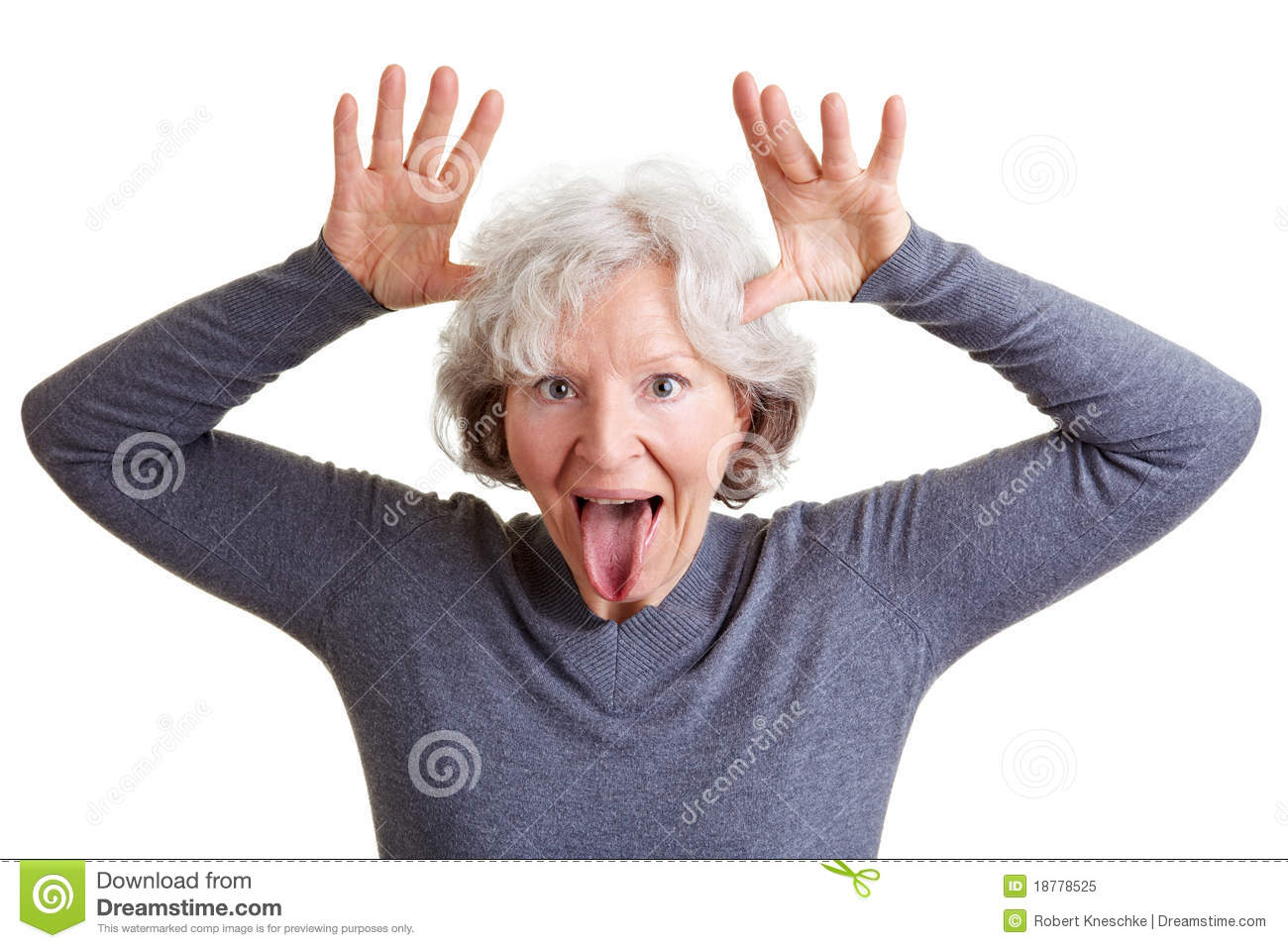 Funny Senior Woman Showing Her Royalty Free Stock Photo