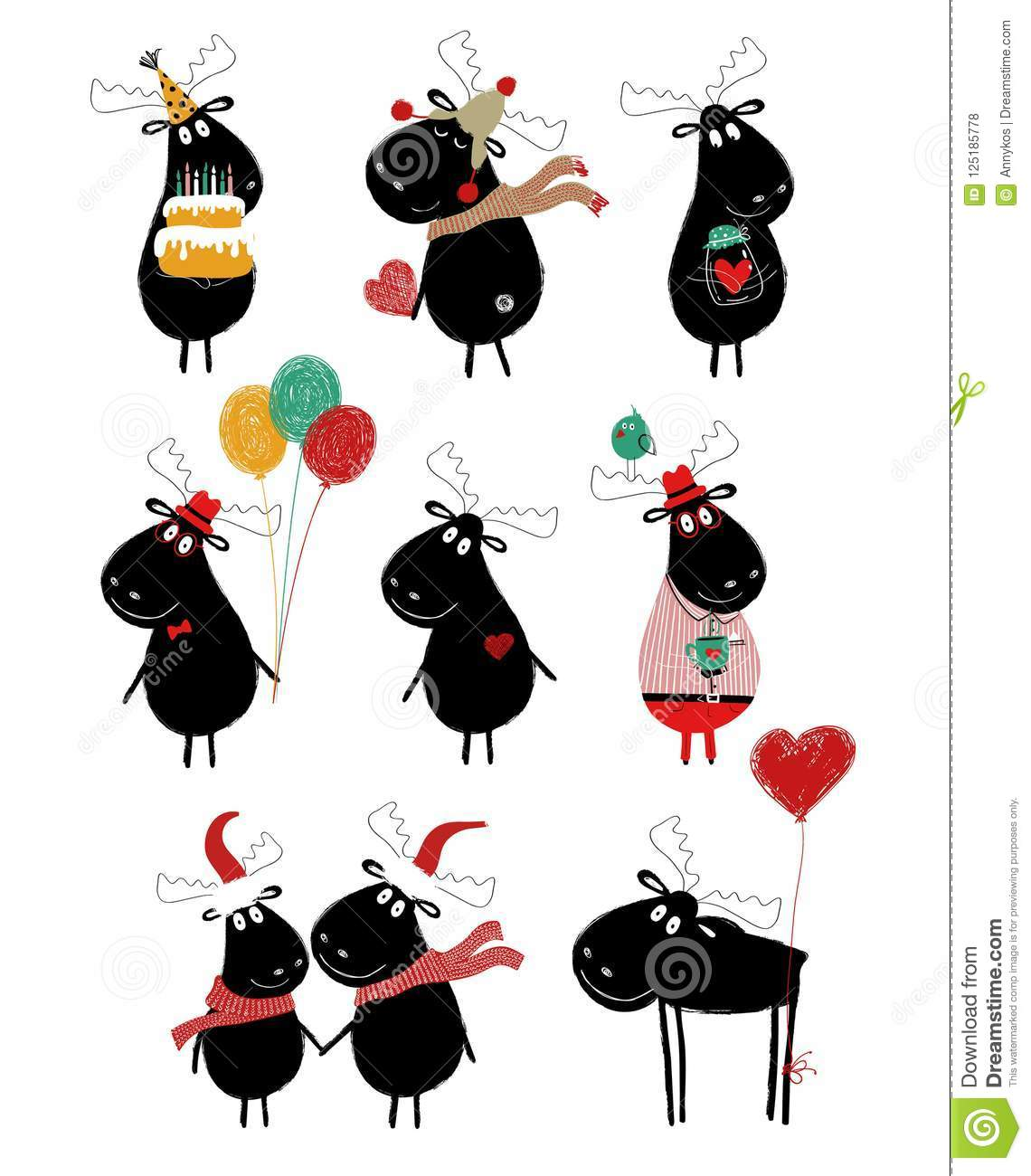 Funny Set With Cute Moose Stock Vector Illustration Of Brush
