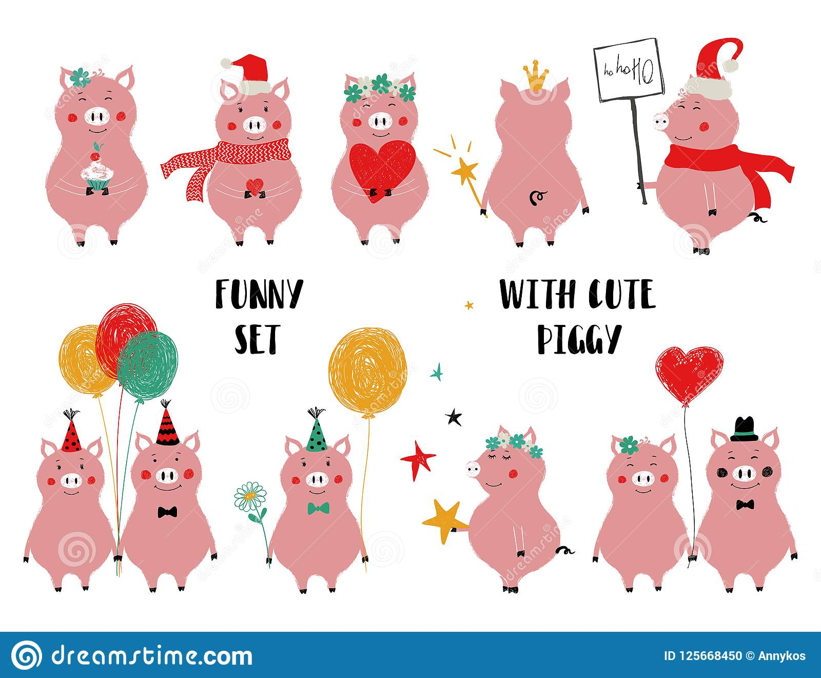 Funny Set Of Cute Pink Pig. Stock Vector - Illustration of ...