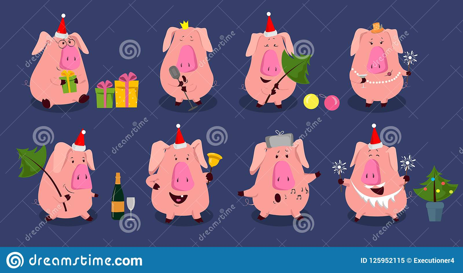 2019 Funny Set With Cute Pink Pig. Perfect For Birthday, Christmas ...