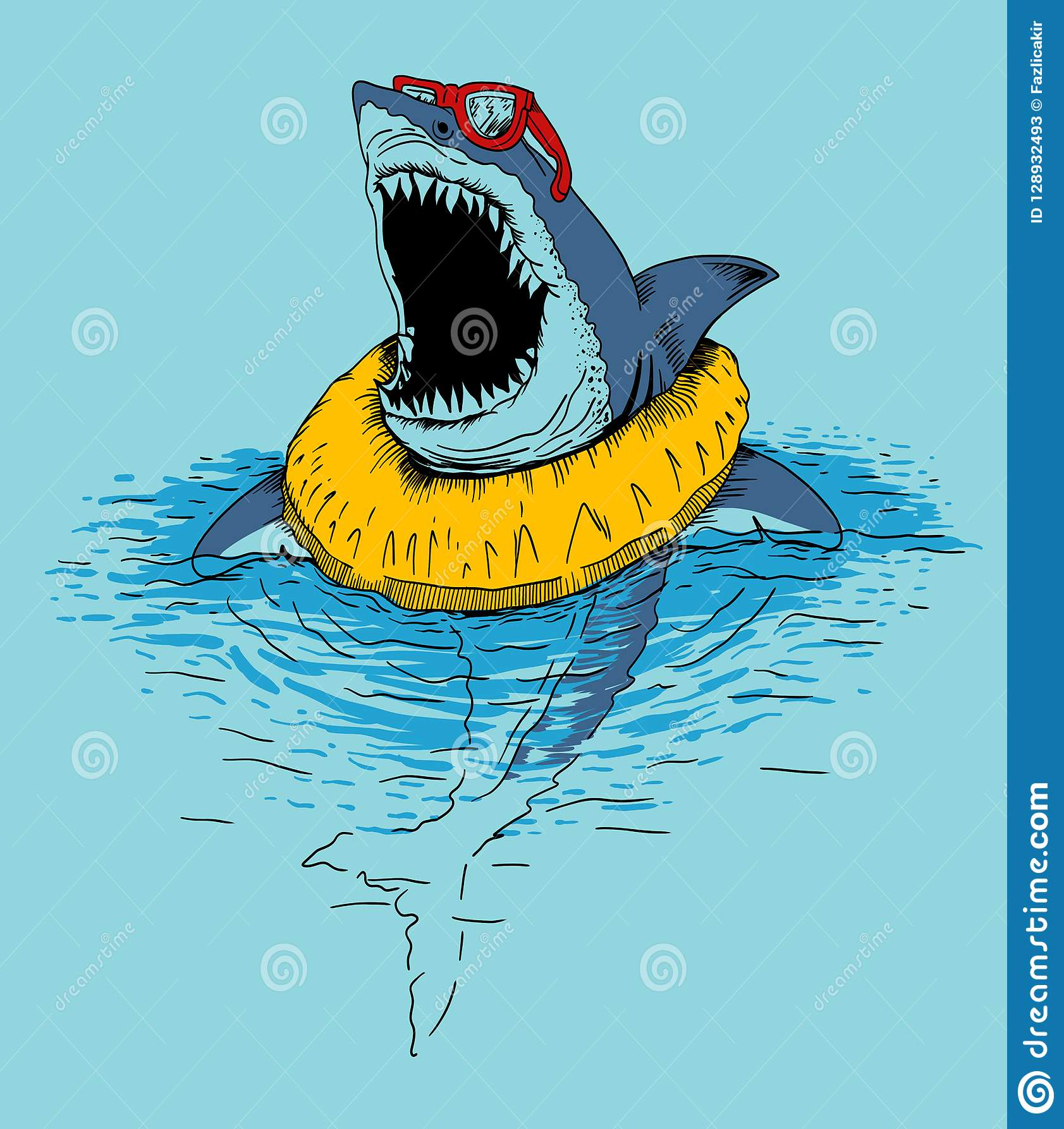 Funny shark hand drawn illustration for kids t shirt print design