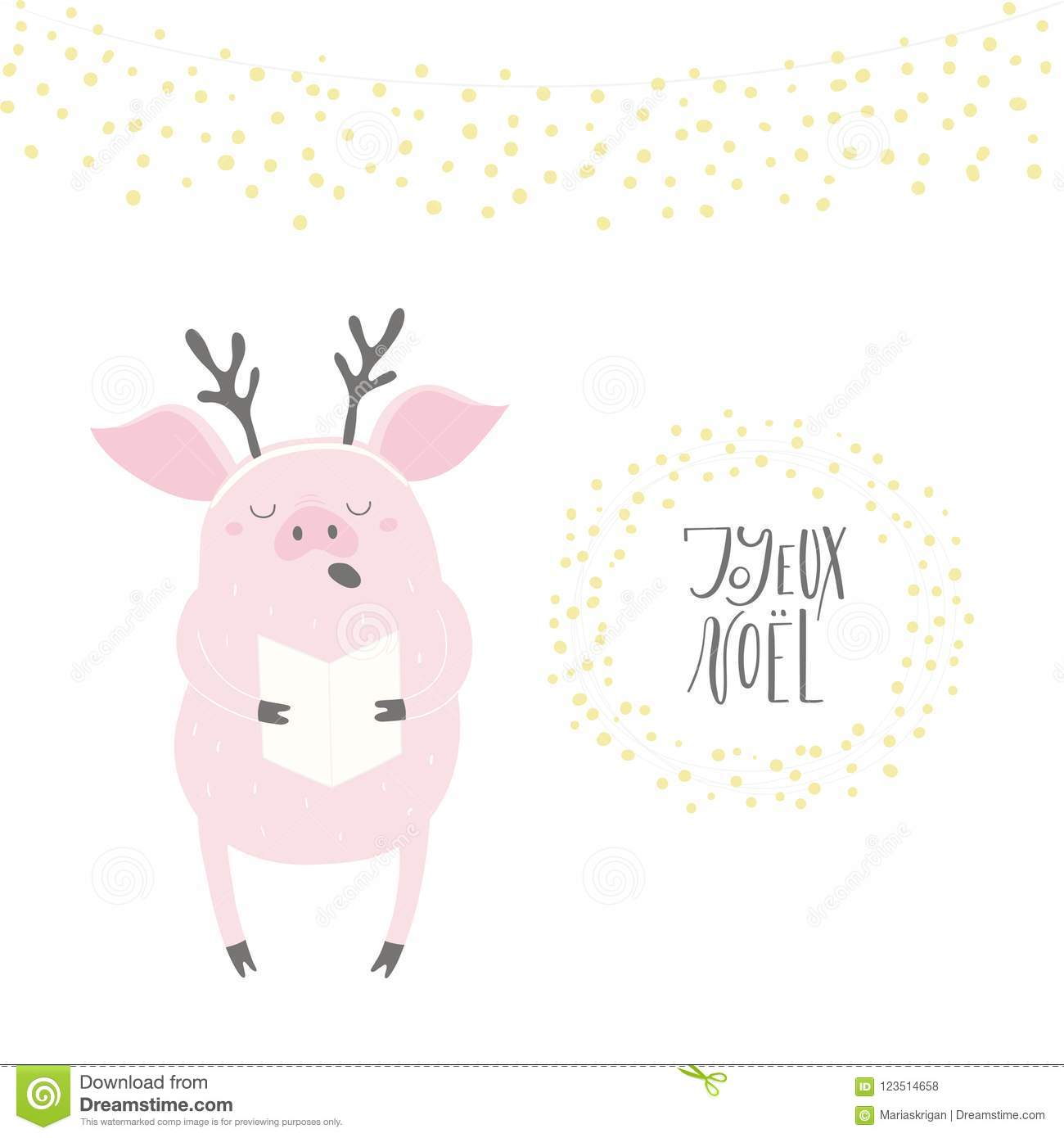 Funny Singing Pig Christmas Card Stock Vector - Illustration of ...