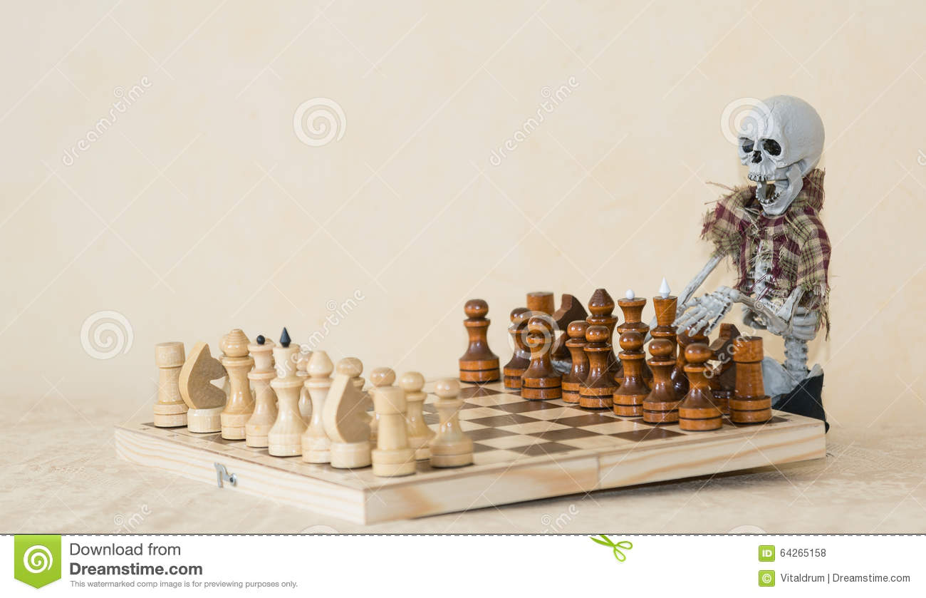 Funny skeleton sitting behind the table and playing chess - Chess nice image ...