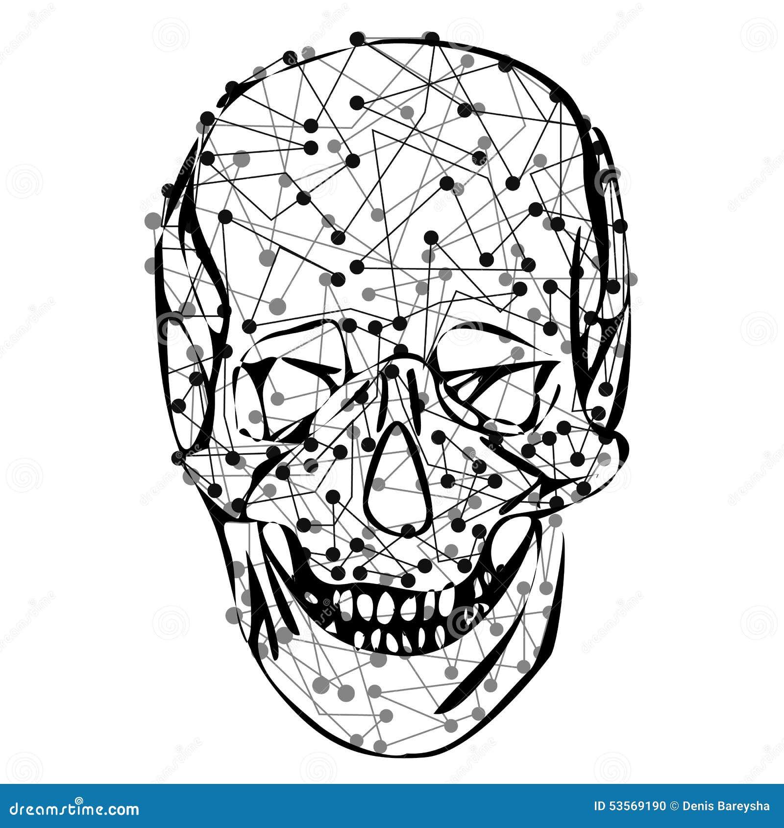Funny skeleton skull stock vector. Illustration of dangerous - 53569190