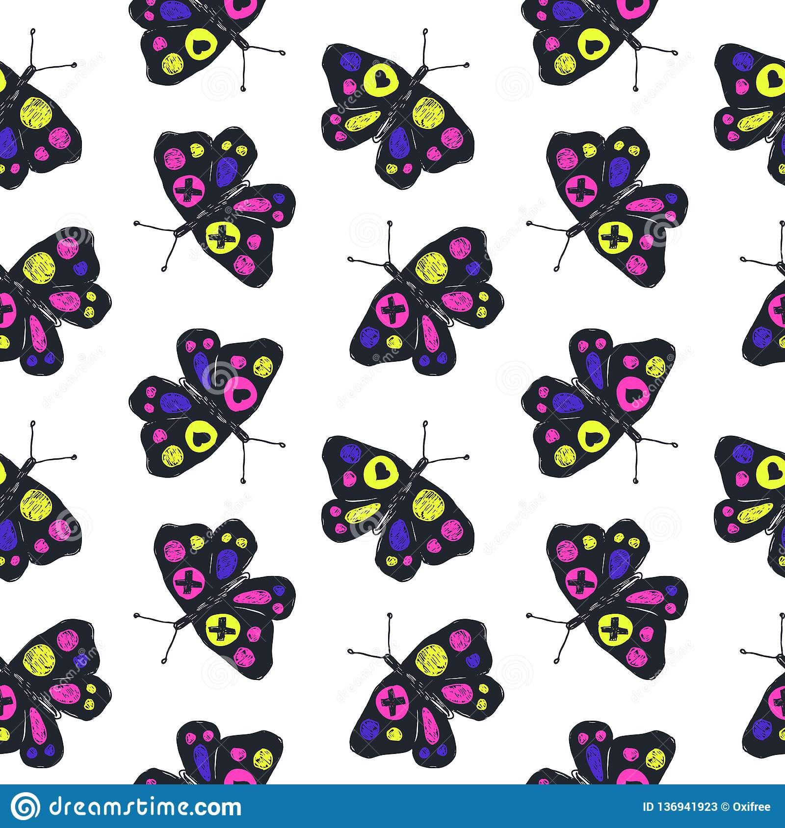 Funny sketch seamless pattern with color butterflies.