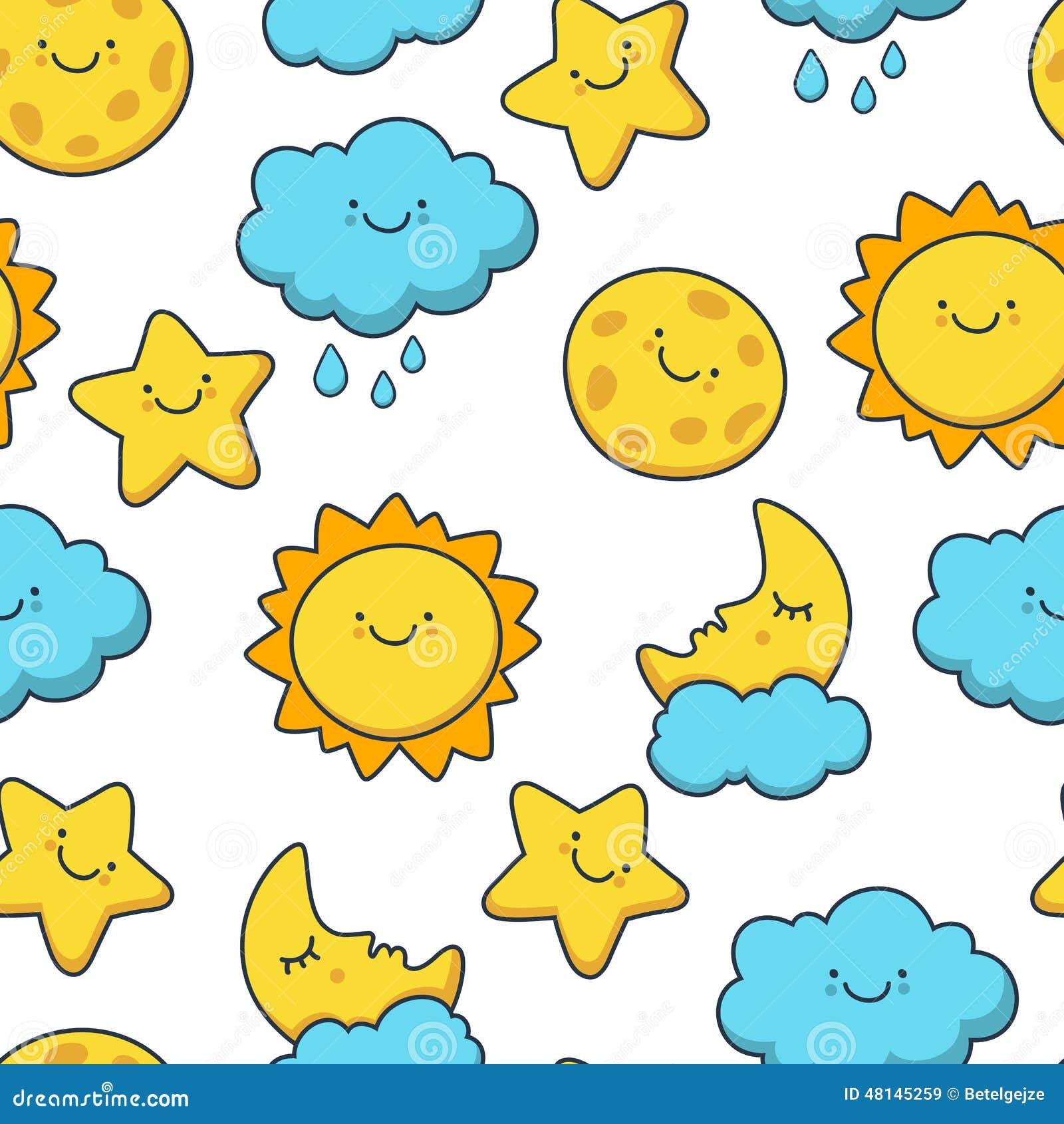 Funny Sketching Star, Sun, Cloud, Moon. Vector Seamless Cartoon Stock ...