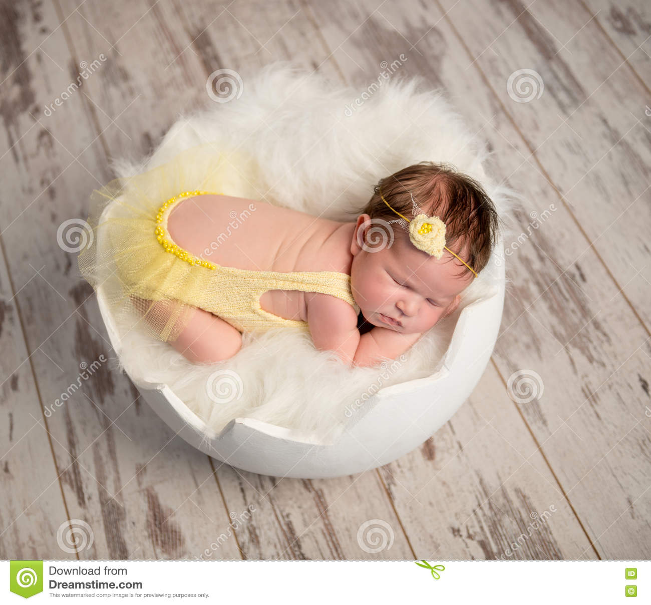 Funny Sleeping Baby In Yellow Romper On Round Cot Stock Image Image Of Chicken Baby 78247707