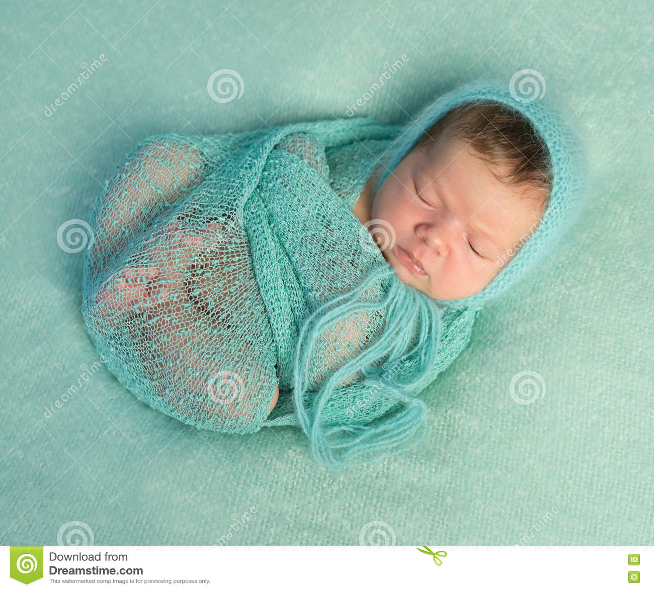 4035dd23d Funny Sleeping Newborn On Blue Blanket And In Diaper Stock Photo ...