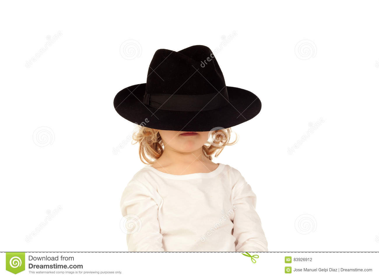 Funny small blond child with black hat