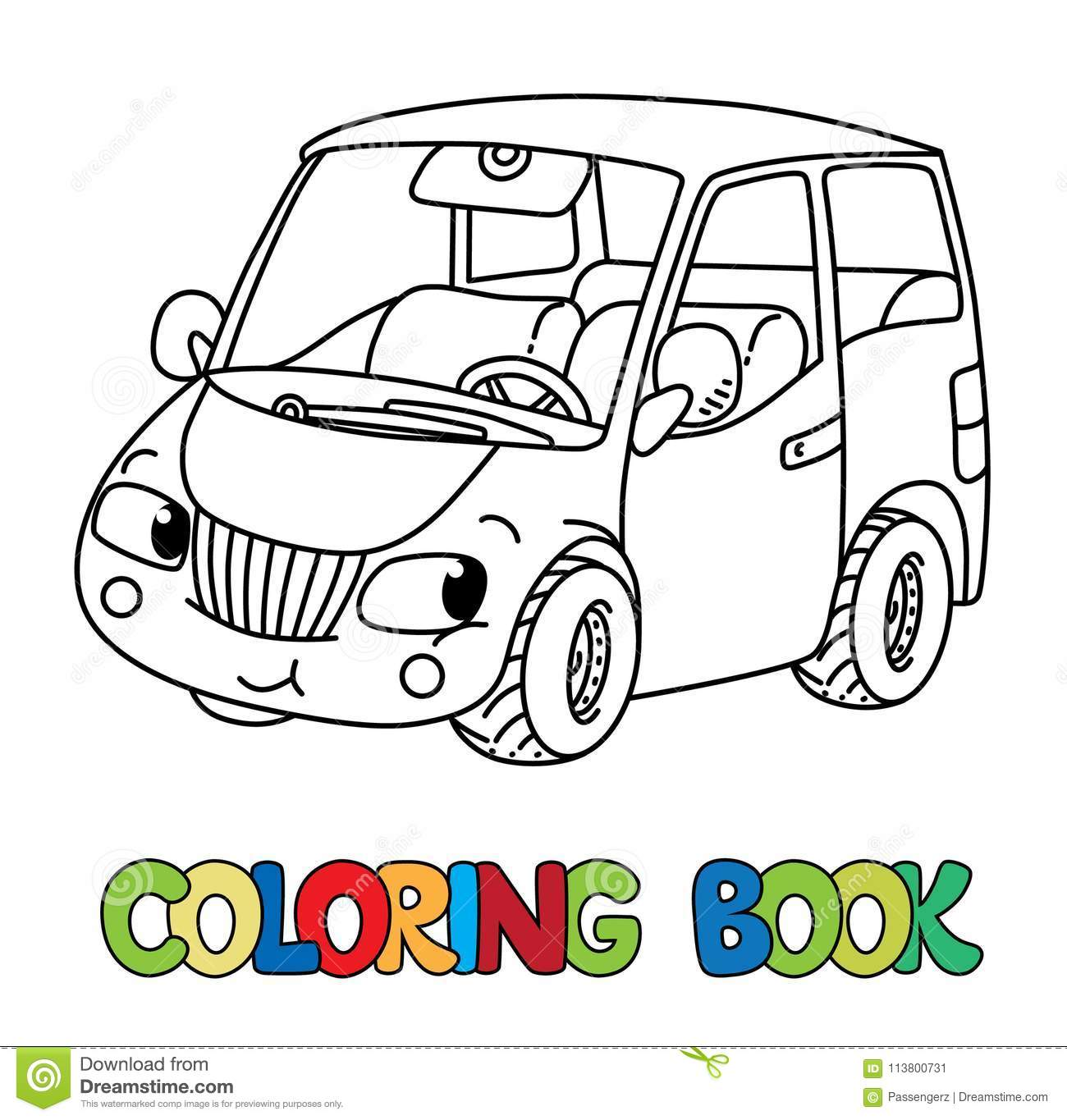 Funny Small Car With Eyes. Coloring Book Stock Vector ...