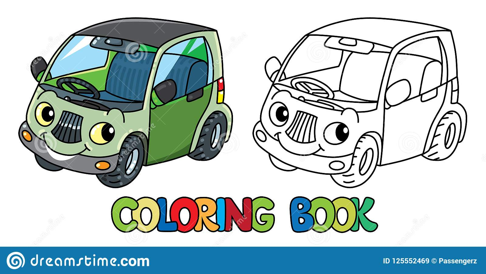 Funny Small Car With Eyes Coloring Book Stock Vector Illustration