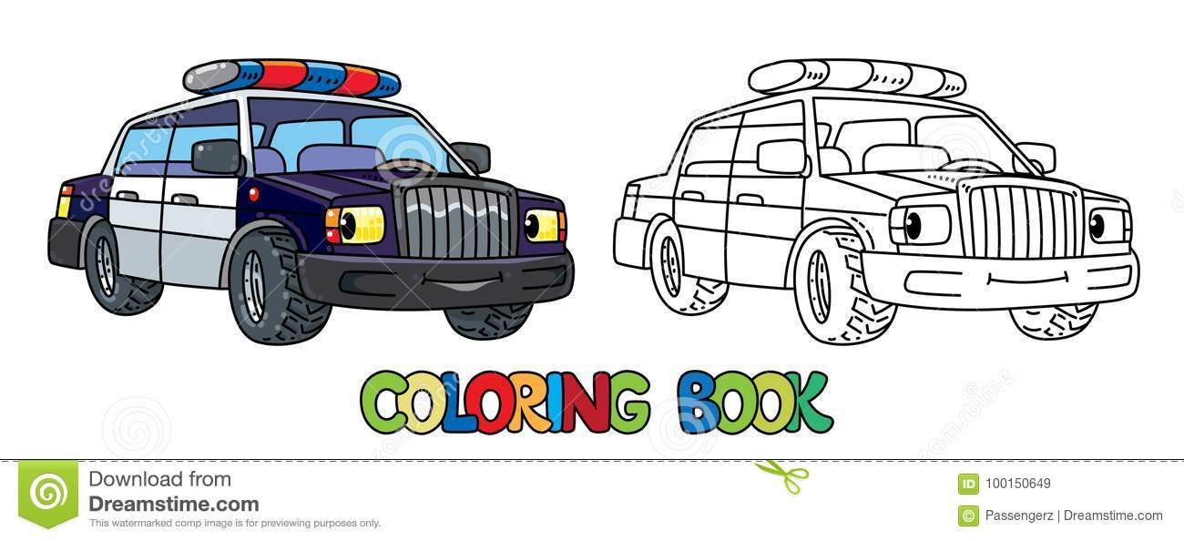 Funny Small Police Car With Eyes Coloring Book Stock Vector