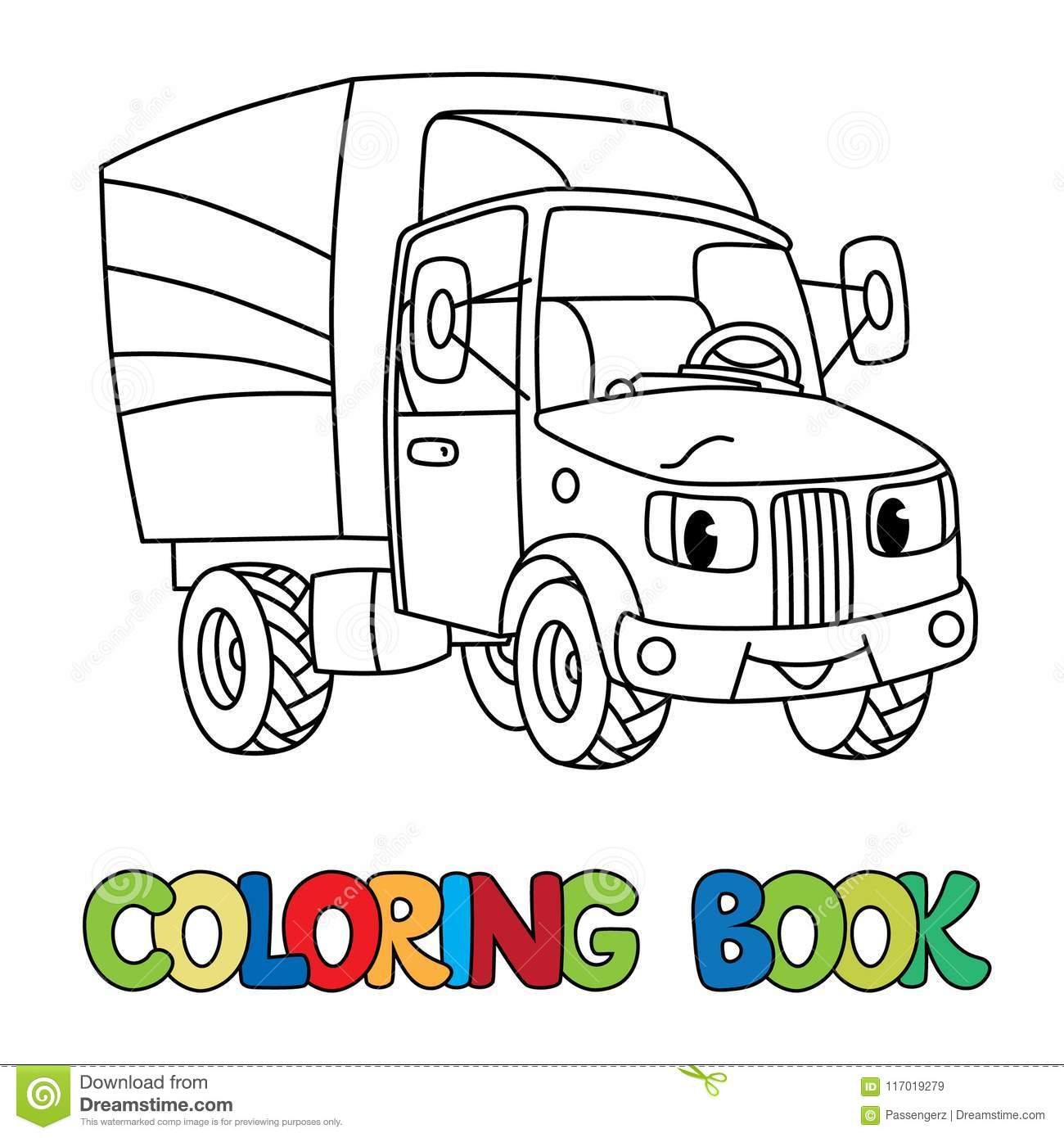 Funny Small Postal Car With Eyes Coloring Book Stock Vector